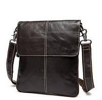 Мужская кожаная сумка-мессенджер BEXHILL через плечо коричневая
