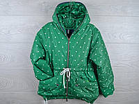 """Куртка подростковая демисезонная """"Сердца"""". 6-10 лет. Зеленая. Оптом."""
