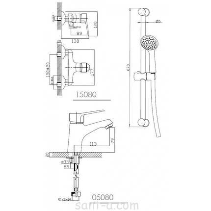 WITOW набор смесителей(05080 + 15080 + R670SD+1115+W100SL1C + 21*27*80), фото 2