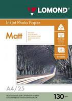 Двусторонняя матовая фотобумага для струйной печати, A4, 130 г/м2, 25 листов