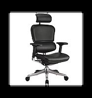 Кресло компьютерное ERGOHUMAN PLUS эргономичное, натуральная кожа черного цвета