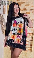 Модная стильная футболка туника большого размера 50 - 58