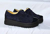 Туфли с лаковым носочком. Натуральный замш 0182, фото 1