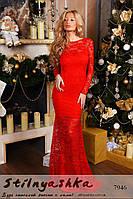 Гипюровое красное длинное платье Спина