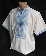 Мужская  вышиванка на домотканом полотне, фото 1