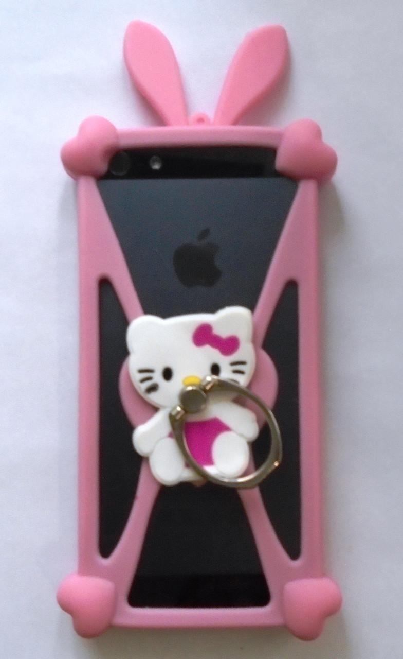 "Яркий универсальный чехол бампер с ушками Hello Kitty для 4""-5,5"