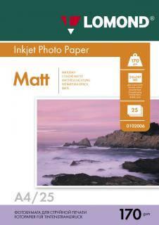 Двусторонняя матовая фотобумага для струйной печати, A4, 170 г/м2, 25 листов