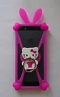 "Яркий универсальный чехол бампер с ушками Hello Kitty для 4""-5,5, фото 1"