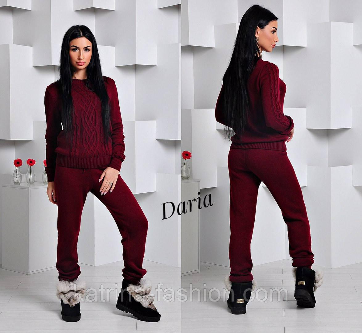 Женский стильный вязанный костюм: свитер и штаны (4 цвета) Турция