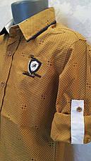 Нарядная рубашка на мальчиков 110,116,122,128 роста Горчица, фото 3