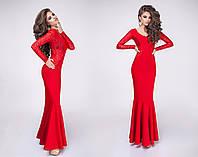 Платье вечернее с гипюром в пол красное