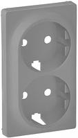 Лицевая панель двойной силовой розетки алюминий 754952 Legrand Valena Life