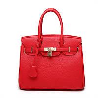 Женская сумка  с двумя ручками средней длины и съемным плечевым ремнем, красного цвета