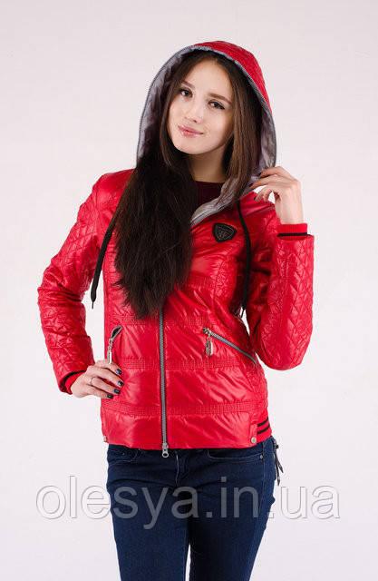 Осенняя женская куртка Мода плащевка на синтепоне Красный р. 44, 46