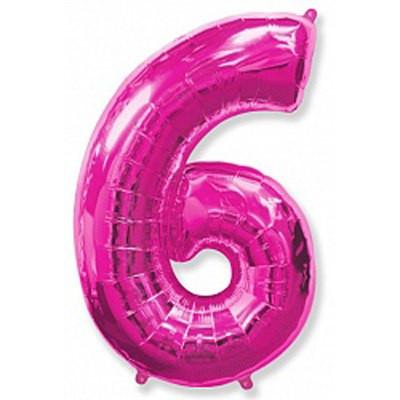Шар фольгированный цифра 6 (малиновый)