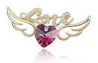 Брошь «LOVE» золото рубин, фото 1