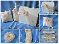 Аксессуары для свадьбы в наборе цвет айвори, персиковый, (сундучок для денег, подушечка для колец, шампанское)