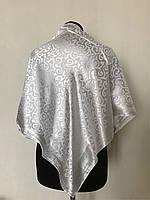 Атласный однотонный белый платок
