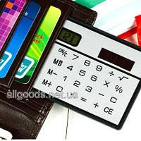 Калькулятор тонкий, размером с кредитку. Черный