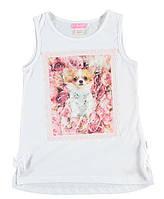 Майка для девочки LC Waikiki белого цвета с собачкой на груди