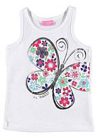 Майка для девочки LC Waikiki белого цвета с бабочкой