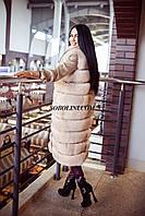 Примерака Удлиненного жилета из меха финского песца, цвет кремовый, воротник стойка, в наличии