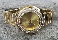 Часы женские Mишель, со стразами, золотистые, копия бренда