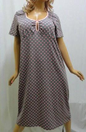 Ночная сорочка женская в горошек больших размеров 50-56, хлопок, фото 2