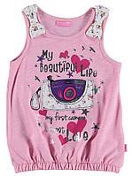 Майка для девочки LC Waikiki розового цвета с картинкой на груди 4-5(рост 104-110)