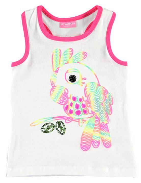 Майка для девочки LC Waikiki белого цвета с попугаем
