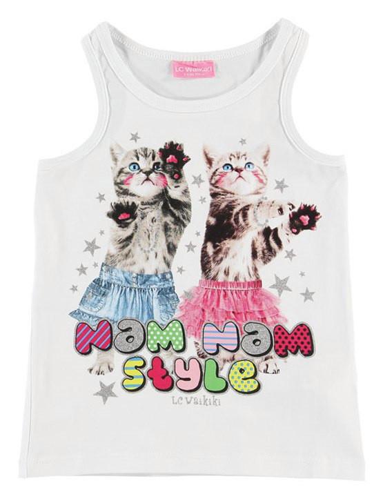 Майка для дівчинки LC Waikiki білого кольору з котиками