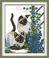 Сиамские кошки Набор для вышивки крестом с печатью на ткани 14ст