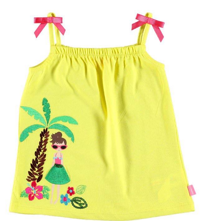 Майка для девочки LC Waikiki желтого цвета с пальмой и девочкой