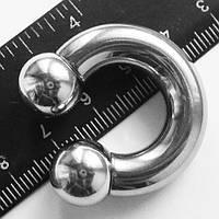 Подкова утяжелитель для пирсинга, толщина 8 мм, диаметр 32 мм. Сталь 316L.