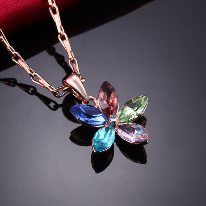 Женская подвеска кулон Цветок 18K позолота, цепочка 45 + 5 см.