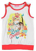 Майка для девочки LC Waikiki белого с красным цвета с котиком на груди