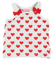 Майка для девочки LC Waikiki белого цвета в красные сердца