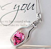 """Модная подвеска украшение на цепочке """"Сосуд любви"""" с розовым кристаллом, серебристый цвет"""