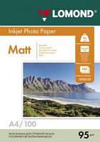 Односторонняя матовая фотобумага для струйной печати, A4, 95 г/м2, 100 листов