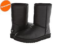 Угги черные кожаные обливные UGG Classic Short Metallik Bomber Black Угги женские зимние