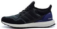 Мужские кроссовки Adidas Ultra Boost Black/Blue (адидас ультра буст) черные