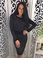 Женское платье трикотажное со стразами цвет черный