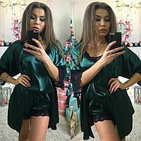 Женский атласный шелковый домашний халат халатик с вставками кружева.  Супер качество! Фото реал