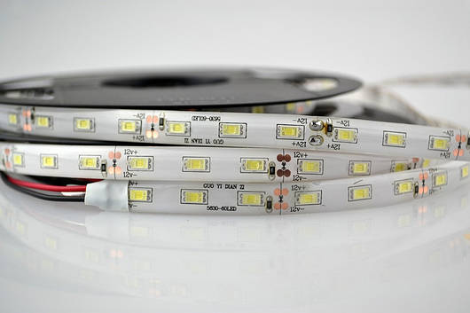Светодиодная лента SMD 5630, 60 диодов/метр, 12V, 15W/m, 23lm, IP65, герметичная, 5 метров, нейтральная