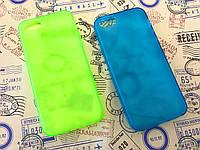 TPU чехол для Apple iPhone 5 / 5S / SE зелёный и голубой