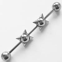 """Штанга на индастриал """"Булава"""" для пирсинга ушей.(цена за 1шт) Медицинская сталь."""