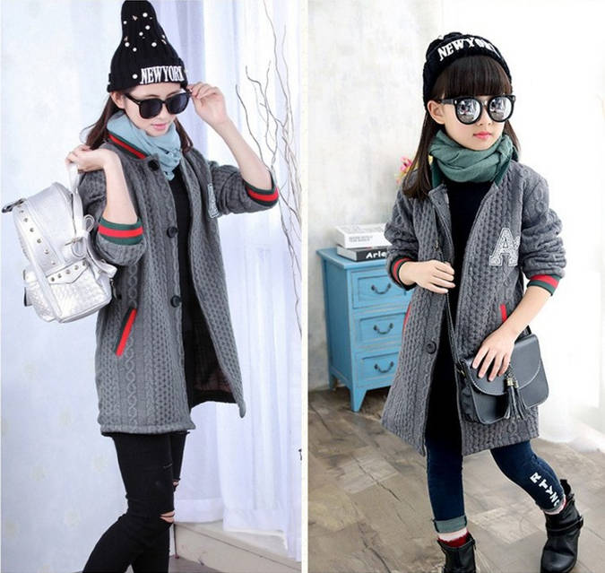 Модное детское трикотажно пальто для девочки, фото 1
