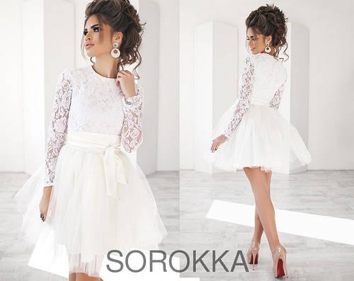 8412bf9295ee78d Эффектное короткое женское платье с пышной фатиновой юбкой, цвет белый (р.42 -46): продажа, цена в Одессе. платья женские от
