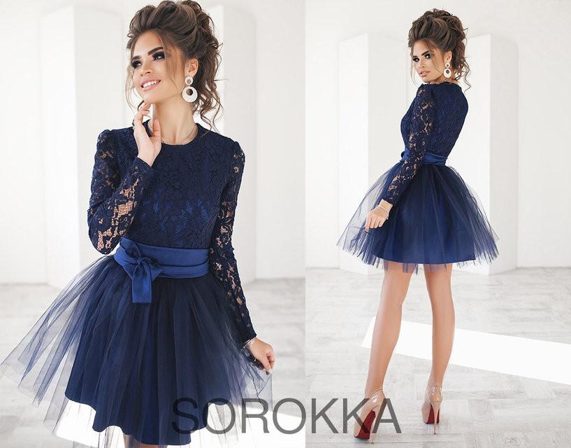 da1baf56670c5a5 Эффектное короткое женское платье с пышной фатиновой юбкой, цвет  темно-синий (р.42-46), цена 820 грн., купить в Одессе — Prom.ua  (ID#475187913)