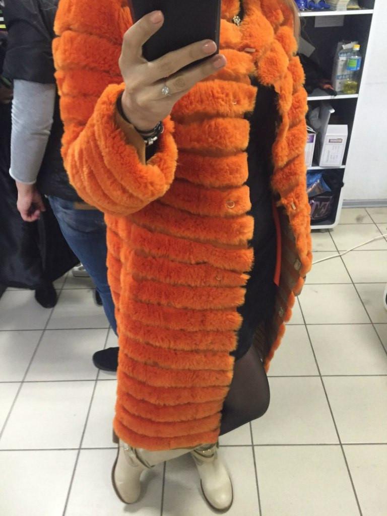 Шубка из натурального меха кролика, цвет оранжевый